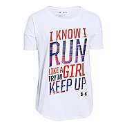 Kids Under Armour Girls Run T Short Sleeve Technical Tops
