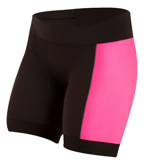 Womens Pearl Izumi ELITE Pursuit Tri Half Unlined Shorts - Black/Screaming Pink S