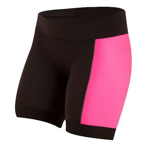 Womens Pearl Izumi ELITE Pursuit Tri Half Unlined Shorts - Black/Screaming Pink XL
