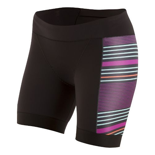 Womens Pearl Izumi ELITE Pursuit Tri Half Unlined Shorts - Black/Wine Stripe M