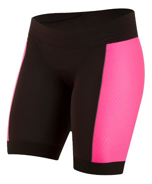 Womens Pearl Izumi ELITE Pursuit Tri Unlined Shorts - Black/Screaming Pink S