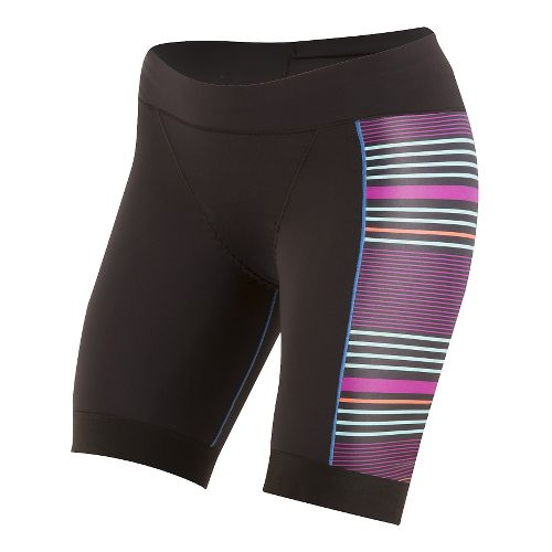 Womens Pearl Izumi ELITE Pursuit Tri Unlined Shorts - Black/Wine Stripe S