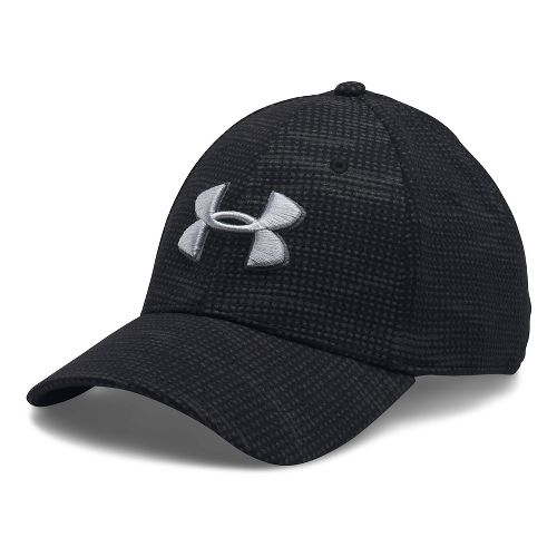 Mens Under Armour Print Blitzing Stretch Fit Cap Headwear - Black/Rhino Grey L/XL