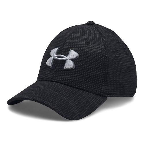 Mens Under Armour Print Blitzing Stretch Fit Cap Headwear - Black/Rhino Grey M/L