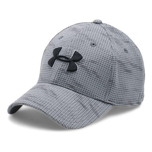 Mens Under Armour Print Blitzing Stretch Fit Cap Headwear - Graphite/Steel L/XL