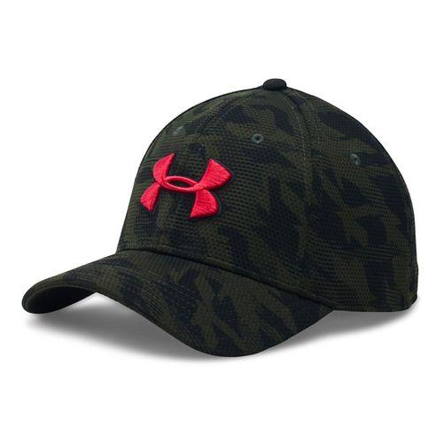 Mens Under Armour Print Blitzing Stretch Fit Cap Headwear - Army Green/Black L/XL
