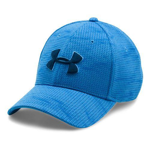 Mens Under Armour Print Blitzing Stretch Fit Cap Headwear - Water/Blue Marker XL/XXL