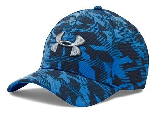 Mens Under Armour Print Blitzing Stretch Fit Cap Headwear - Brilliant Blue/Grey M/L