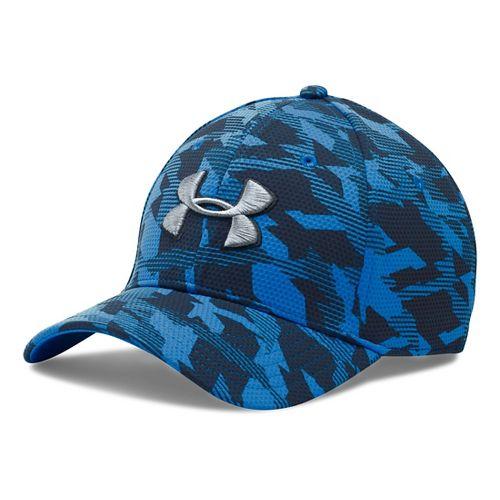 Mens Under Armour Print Blitzing Stretch Fit Cap Headwear - Brilliant Blue/Grey L/XL