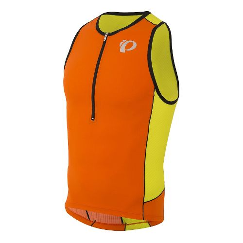 Mens Pearl Izumi ELITE Pursuit Tri Singlet Sleeveless & Tank Technical Tops - Red Orange/Lime ...