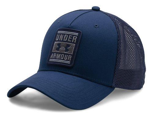 Mens Under Armour Trucker Low Crown Cap Headwear - Blackout Navy/Navy