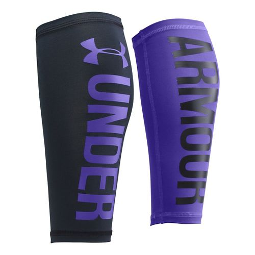 Womens Under Armour Graphic Compression Calf Sleeves Injury Recovery - Black/Deep Orchid XS/S