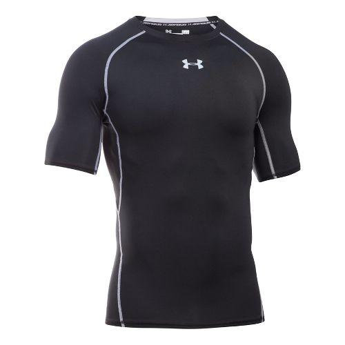 Mens Under Armour HeatGear Compression T Short Sleeve Technical Tops - Black/Steel SR