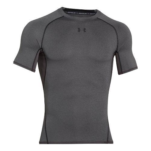 Mens Under Armour Heatgear Armour Short Sleeve Technical Tops - Carbon Heather S