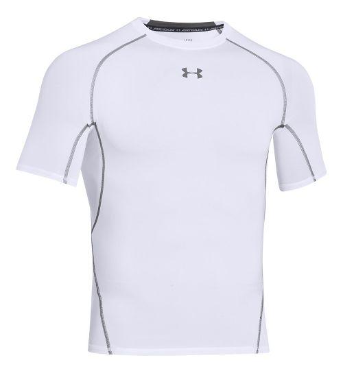 Mens Under Armour HeatGear Short Sleeve Technical Tops - White XL-T