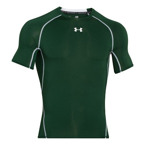 Mens Under Armour HeatGear Short Sleeve Technical Tops - Forest Green XXL-T
