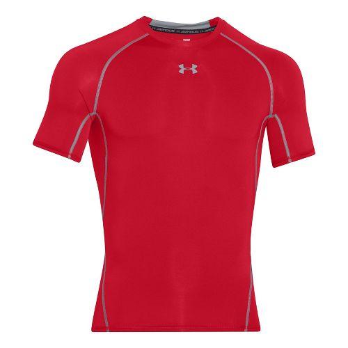 Mens Under Armour HeatGear Short Sleeve Technical Tops - Red XXL