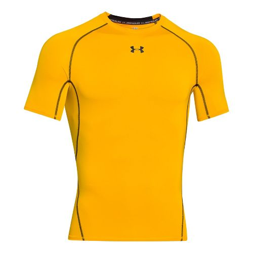 Mens Under Armour HeatGear Compression T Short Sleeve Technical Tops - Steeltown Gold XLR