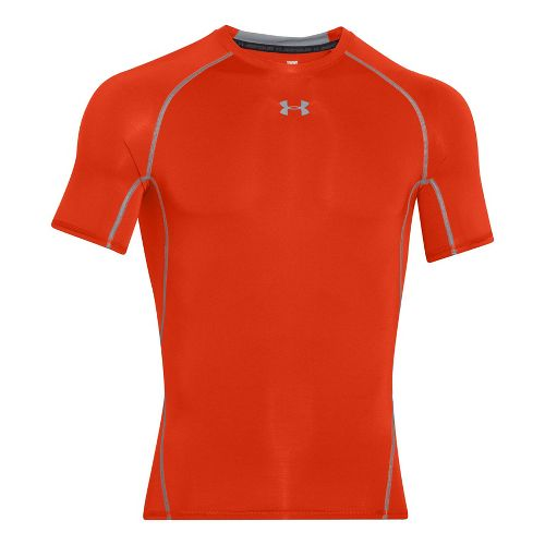 Mens Under Armour Heatgear Armour Short Sleeve Technical Tops - Dark Orange L