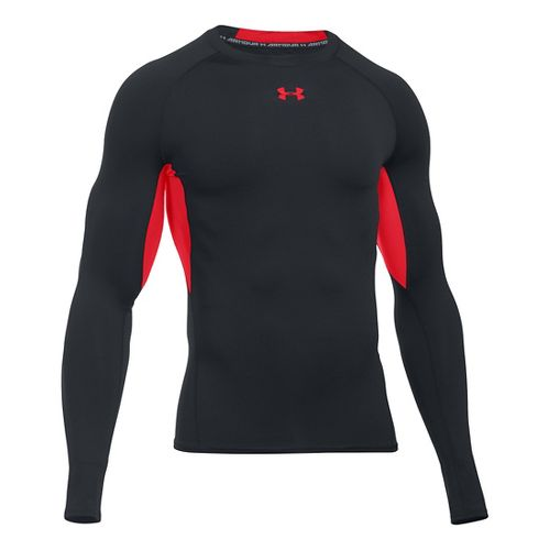 Mens Under Armour HeatGear Compression Long Sleeve Technical Tops - Black/Red MR