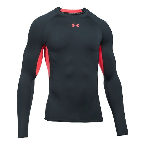 Mens Under Armour HeatGear Long Sleeve Technical Tops - Anthracite/Red 3XL
