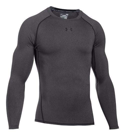 Mens Under Armour HeatGear Long Sleeve Technical Tops - Carbon Heather/Black 3XL