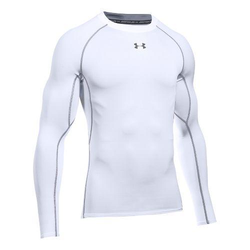 Mens Under Armour HeatGear Long Sleeve Technical Tops - White/Graphite XXL