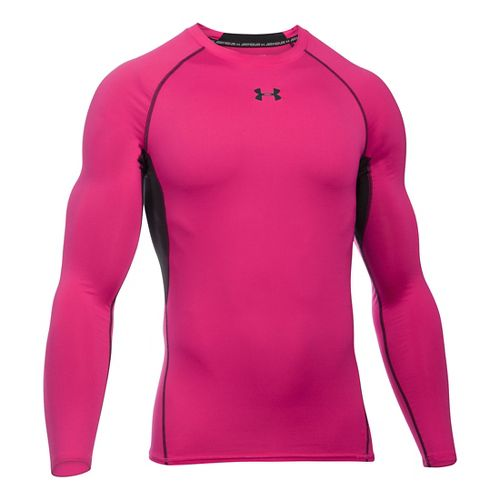 Mens Under Armour HeatGear Compression Long Sleeve Technical Tops - Tropic Pink/Black SR