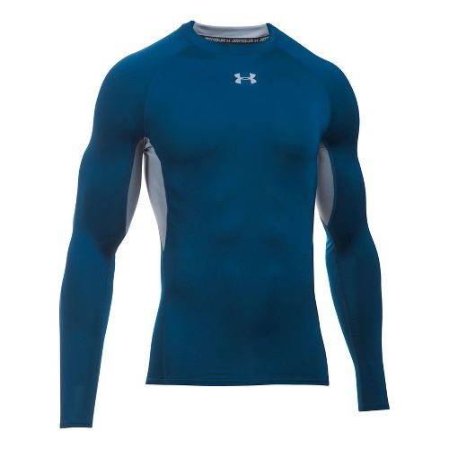 Mens Under Armour Heatgear Armour Long Sleeve Technical Tops - Blackout Navy/Steel XL