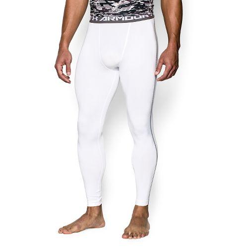 Mens Under Armour HeatGear Compression Tights & Leggings Pants - White XL