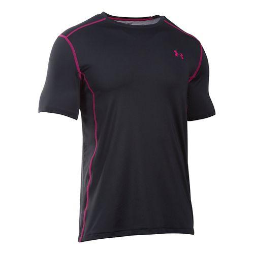 Mens Under Armour Raid Short Sleeve Technical Tops - Black/Tropic Pink L