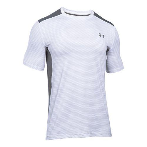 Mens Under Armour Raid Short Sleeve Technical Tops - White/Graphite 4XL