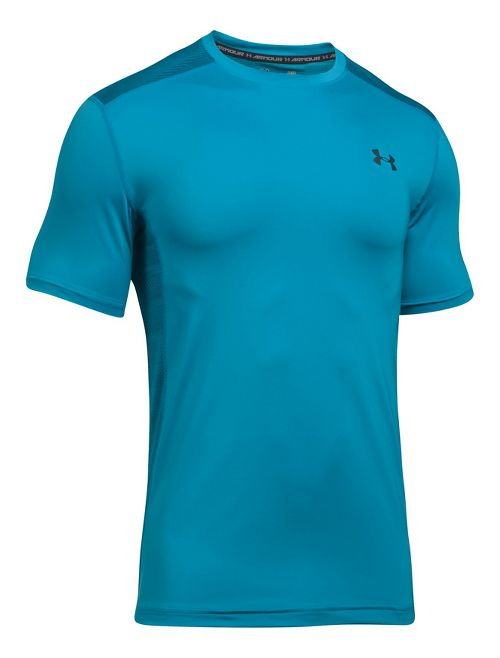 Mens Under Armour Raid Short Sleeve Technical Tops - Blue Shift/Grey M