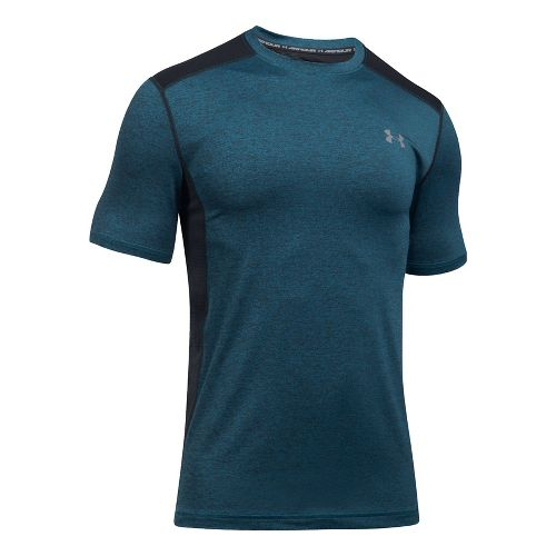 Mens Under Armour Raid Short Sleeve Technical Tops - Bayou Blue/Graphite XXL