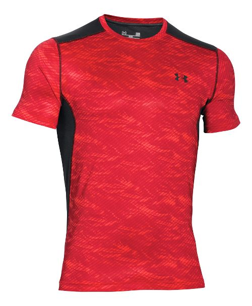 Mens Under Armour Raid Short Sleeve Technical Tops - Rocket Red XL