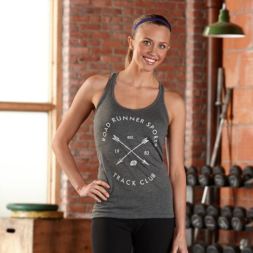 Womens Road Runner Sports Track Club Graphic Sleeveless & Tank Technical Tops - Heather Charcoal L