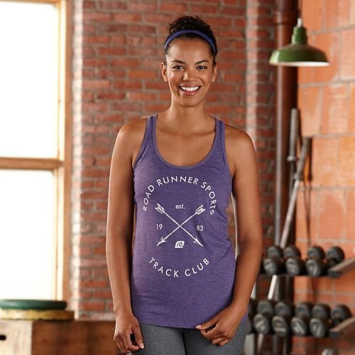 Womens Road Runner Sports Track Club Graphic Sleeveless & Tank Technical Tops - Heather Purple XL