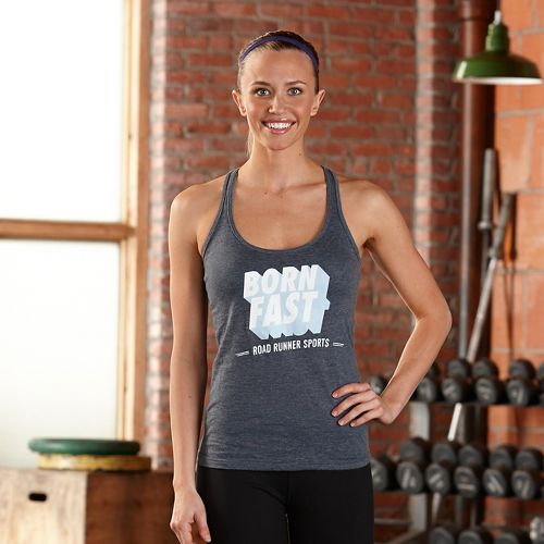 Womens Road Runner Sports Born Fast Graphic Sleeveless & Tank Technical Tops - Heather Navy ...