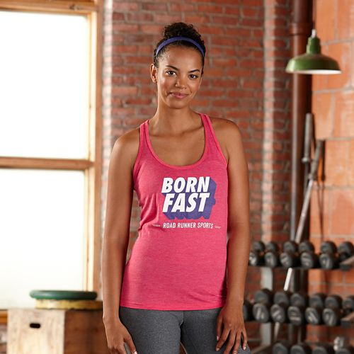 Womens Road Runner Sports Born Fast Graphic Sleeveless & Tank Technical Tops - Heather Fuchsia S