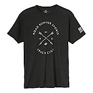 Mens Road Runner Sports Track Club Graphic Short Sleeve Technical Tops - Heather Graphite 2XL