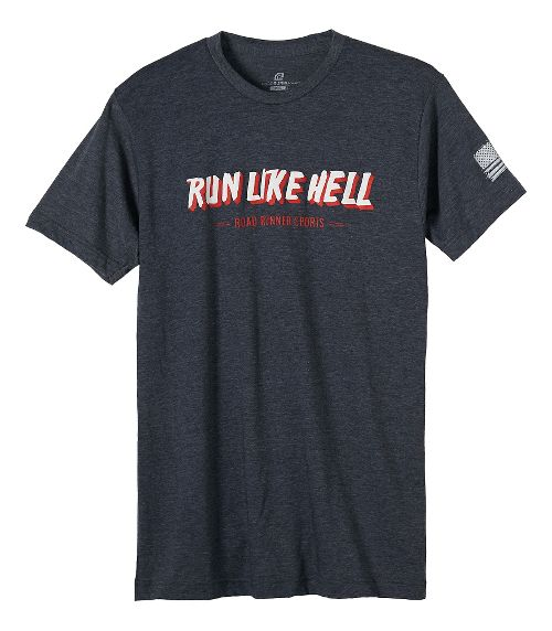 Mens Road Runner Sports Run Like Hell Graphic Short Sleeve Technical Tops - Heather Navy 2XL