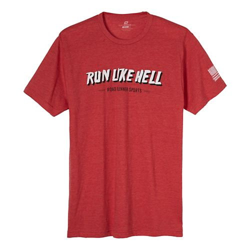 Mens Road Runner Sports Run Like Hell Graphic Short Sleeve Technical Tops - Heather Red 2XL