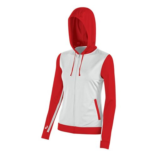Womens ASICS Lani Jacket Half-Zips & Hoodies Technical Tops - White/Red XS