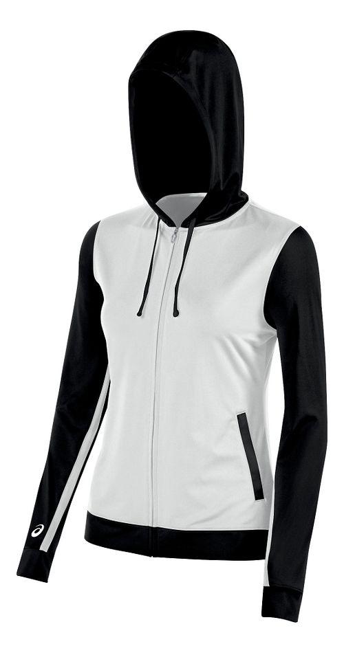 Womens ASICS Lani Jacket Half-Zips & Hoodies Technical Tops - White/Black XL