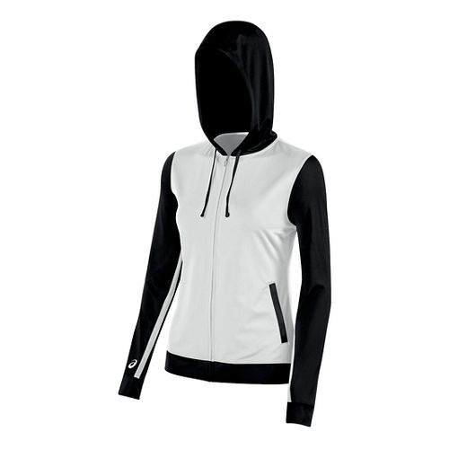 Womens ASICS Lani Jacket Half-Zips & Hoodies Technical Tops - White/Black L