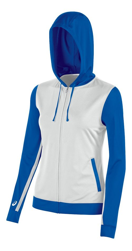 Womens ASICS Lani Jacket Half-Zips & Hoodies Technical Tops - White/Royal S