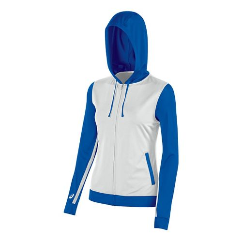 Womens ASICS Lani Jacket Half-Zips & Hoodies Technical Tops - White/Royal XXL