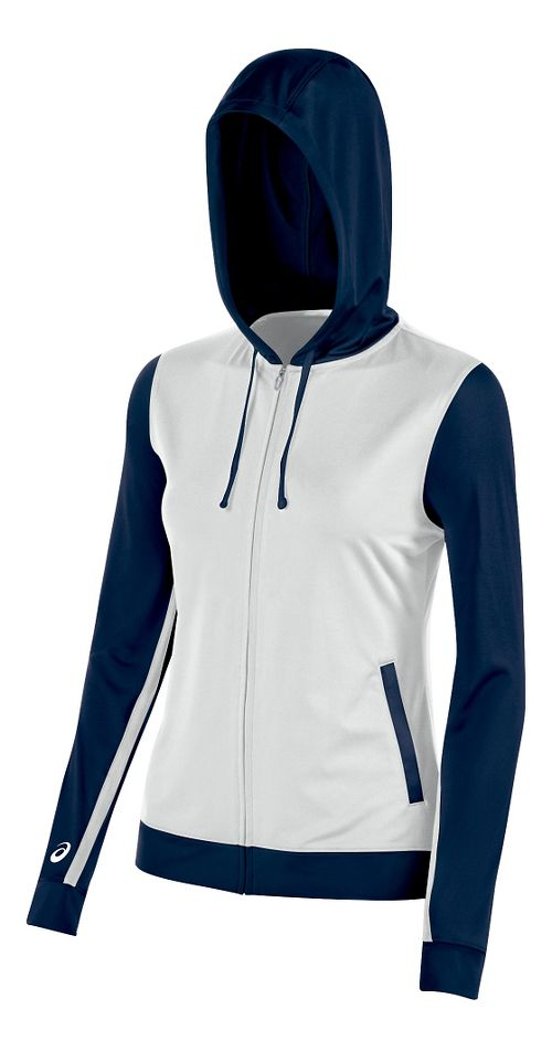 Womens ASICS Lani Jacket Half-Zips & Hoodies Technical Tops - White/Navy XL