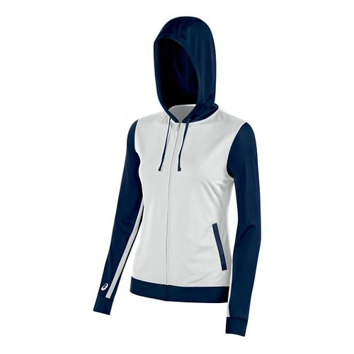 Womens ASICS Lani Jacket Half-Zips & Hoodies Technical Tops - White/Navy L