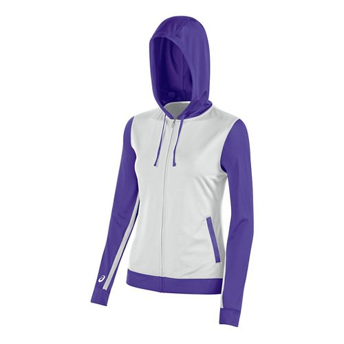 Womens ASICS Lani Jacket Half-Zips & Hoodies Technical Tops - White/Purple L